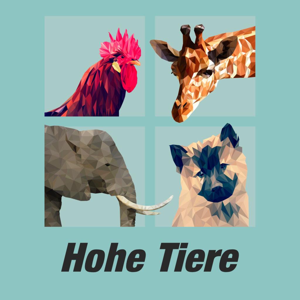 """Das Cover des Podcasts """"Hohe Tiere"""": Die Köpfe eines Hahns, einer Giraffe, eines Elefanten und eines Hunds."""